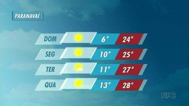 Previsão de mais frio para este domingo em Paranavaí - A massa de ar gelado ainda atua sobre o Paraná neste domingo (01). Em Paranavaí, a mínima deve ser de apenas 7º.
