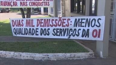 Manifestantes protestam contra demissões em empresa de telefonia - Protesto aconteceu em Porto Velho e está sendo realizado em todo o Brasil.