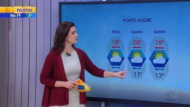 Tempo: Região Leste do RS tem chance de chuvas nesta segunda-feira (23) - Máxima chega aos 15ºC em Porto Alegre.
