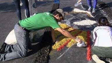Fiéis criam tapete de serragem em comemoração ao Corpus Christi em GO - Celebração aconteceu na Praça Cívica, em Goiânia, e em cidades do interior do estado.