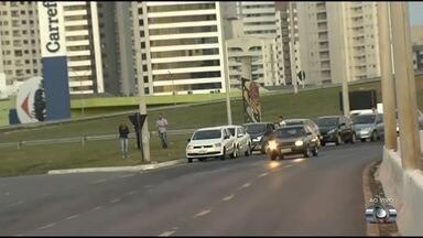 Motoristas são flagrados parados em locais proibidos, em Goiânia - Diversos carros na entrada do Centro Cultural Oscar Niemeyer causaram tumulto no trânsito.