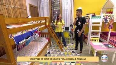 Arquiteta mostra como aproveitar melhor o espaço usando beliches - Elaine Gonzalez dá dicas para André Marques sobre os diferentes tipos de camas