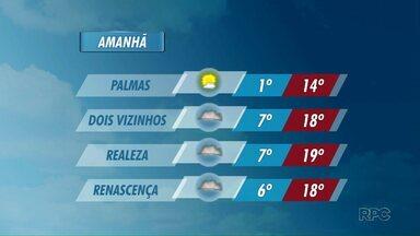 Temperaturas continuam baixas no sudoeste nesta sexta-feira - Em Palmas a mínima será de 1 grau.