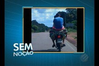 'Sem Noção' flagra carona sendo transportado em pilha de tapetes sobre motocicleta - Flagrante foi registrado na rodovia PA-151, em Barcarena.