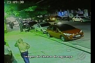 Polícia analisa as imagens da ação dos bandidos que atiraram em agente federal - Crime aconteceu no bairro de Batista Campos.