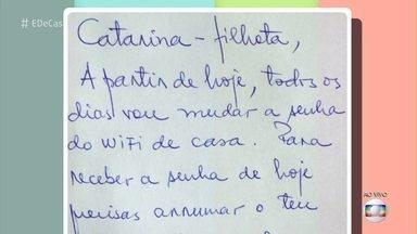 Pai posta bilhete exigindo que a filha cumpra tarefas em troca da senha de wi-fi - Paulo Machado e Catarina falam sobre a relação deles e dizem que se surpreenderam com a repercussão do post