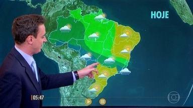 Confira a previsão do tempo para esta quarta-feira (8) em todo o país. - A chuva para em São Paulo e em Mato Grosso do Sul.