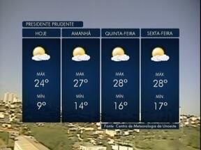 Tempo deve continuar firme no Oeste Paulista - Máxima por chegar aos 24º C em algumas cidades.
