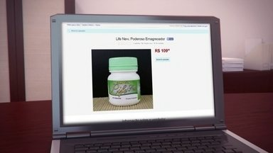 Suspeitos de vender remédio com ingrediente proibido pela web é são presos - A polícia prendeu parte de uma quadrilha que vendia remédio para emagrecimento pela internet. Com promessa de ser natural, o Life New tem uma substância considerada droga pela Anvisa.
