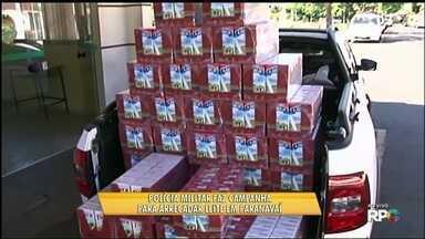 Polícia Militar faz campanha para arrecadar leite em Paranavaí - A ação é feita há três anos para ajudar entidades de Paranavaí e comemorar o aniversário da Polícia Militar.