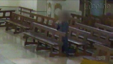 Câmeras de segurança de Catedral registram ladrão rezando antes de assalto - Situação inusitada aconteceu em Apucarana.