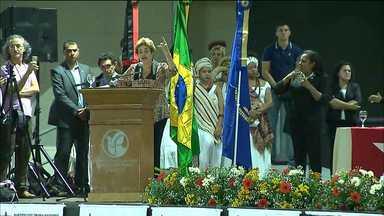 """Presidente afastada Dilma Rousseff está na Paraíba nesta quarta-feira - Ela participou de uma audiência pública sobre """"A democracia e o atual momento político brasileiro""""."""