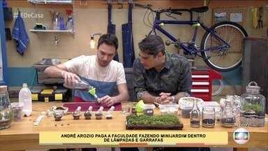 Estudante cria minijardins para ganhar renda extra - André usa lâmpadas, garrafas e outros objetos para criar seus projetos