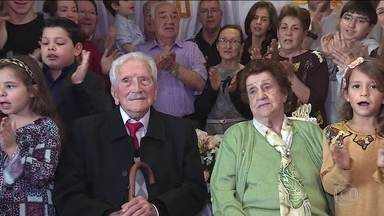 'Carinho da família': gêmeos de 100 anos contam segredo da longevidade - Fantástico foi até a festa de aniversário de Francisca e Godofredo, que comemoram um século de vida neste domingo (3).