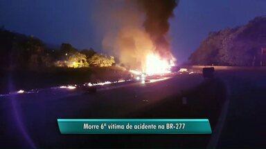 Confirmada a 6ª vítima do acidente na BR-277, no litoral do Paraná - Caminhão carregado com combustível explodiu.