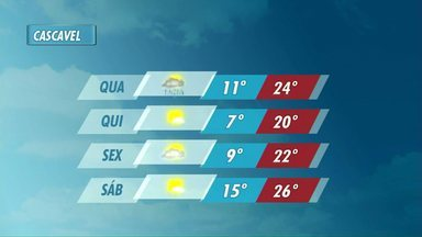Previsão é de chuva e frio para os próximos dias em Cascavel e região - Há também previsão de temporais.