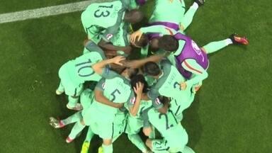 Gol de Portugal! Cristiano Ronaldo sobe muito e abre o placar de cabeça aos 4 do 2 º tempo - Gol de Portugal! Cristiano Ronaldo sobe muito e abre o placar de cabeça aos 4 do 2 º tempo