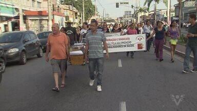 Funcionários de Hospital Municipal de Cubatão seguem protestando - Prefeita Márcia Rosa foi alvo de manifestações.