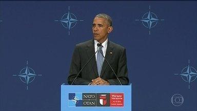Obama reprograma agenda após assassinato de cinco policias nos EUA - O assassinato de cinco policiais nos Estados Unidos, fez com que o presidente Barack Obama encurtasse a viagem à Europa.