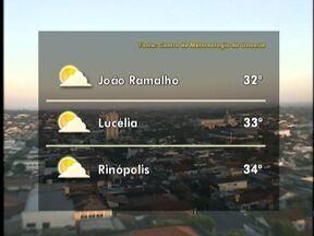Sol entre nuvens predomina no Oeste Paulista - Não há previsão de chuva para a região.