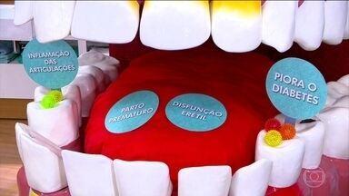 Saiba quais são as doenças relacionadas à saúde bucal - São doenças relacionadas à saúde bucal: parto prematuro, disfunção erétil, inflamação das articulações e piora do diabetes.