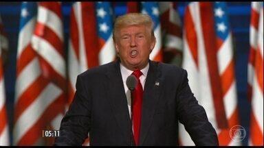 Donald Trump aceita formalmente a indicação do partido à eleição presidencial - Convenção do partido republicano chegou ao final com o esperado discurso de Trump. O discurso de aceitação da candidatura é um momento histórico: transmitido ao vivo pelas redes de TV, visto por milhões de americanos.