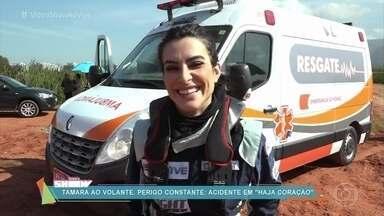 Confira os bastidores do acidente com Tamara em 'Haja Coração' - Cena eletrizante contou com muitos efeitos especiais