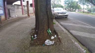 Lugar de lixo é no lixo. E você joga o lixo no lixo? - É possível observar que muito papel, plástico, alumínio, vidro ficam pelas ruas, calçadas e canteiros de Maringá, produtos que levam um tempão para se decompor