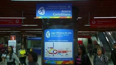 Transporte público e CET terão esquema especial em jogos da Olimpíada na Arena Corinthians - O esquema foi para que os torcedores cheguem à Arena Corinthians, em Itaquera, para assistir aos jogos de futebol da Olimpíada. O trem, o Metrô e os ônibus funcionarão em horário especial e haverá bloqueios de vias pela CET.