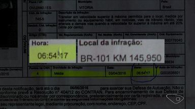 Multa aponta que motorista passou por 2 radares do ES em 5 segundos - Para que registro fosse possível, veículo teria que estar a 936 km/h.Motorista entrou com recurso para anular multa, mas Dnit negou.