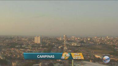 Confira a previsão para o início desta semana na região de Campinas - Manhã de segunda-feira tem ventos fortes. Temperatura máxima chega a 32ºC.