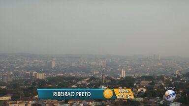 Confira a previsão do tempo para esta quinta-feira (18) na região de Ribeirão Preto, SP - Temperatura máxima deve ser de 35ºC, segundo meteorologistas.