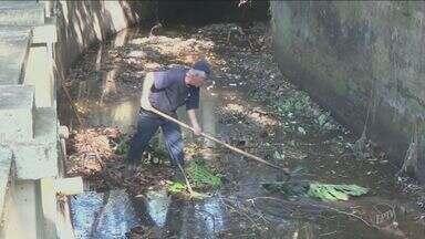 Equipes fazem serviço de limpeza na cachoeira 'Véu da Noiva' em Piracicaba - Operação ocorreu na manhã desta quinta-feira (18). As equipes retiraram galhos e lixos que comprometiam a vazão da água.