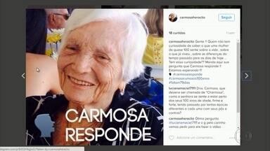 Senhora de 99 anos ganha das netas perfil nas redes sociais - Conta de Maria do Carmo Heráclio traz as histórias e experiências vividas por ela. Mais do que uma diversão, virou uma forma de aproximar ainda mais a família.