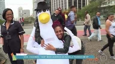 Rafael Cortez leva 'cegonho' para passear em São Paulo - A ave mais querida de 'Êta Mundo Bom' foi curtir a fama nas ruas