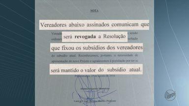 Câmara faz sessão para cancelar alta de 30% nos salários dos vereadores de Pirassununga - Com aumento, valor passaria de R$ 3.200 para R$ 4.315.