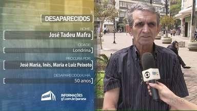 """José Tadeu Mafra procura parentes desaparecidos há 50 anos - Ele e a Leonice Quirino, participaram do quadro """"Desaparecidos"""", do Paraná TV."""