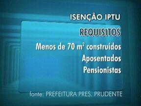 Prefeitura de Prudente divulga as regras para os pedidos de isenção do IPTU - Saiba quais são as normas.