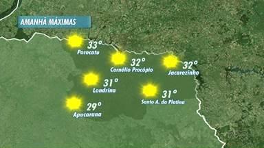 Domingo com sol em Londrina - E a semana deverá ser bem quente e sem chuva. Na quarta-feira, a temperatura poderá chegar aos 35 graus.