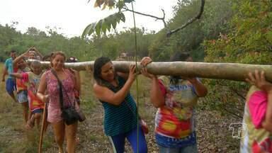 Procissão de busca dos mastros do Sairé é realizada em Alter do Chão - Ritual de busca de troncos na floresta é tradicional antes do início do evento.