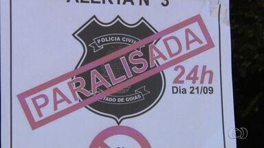 Policiais civis paralisam atividades durante 24 horas, em Goiás - Registros de boletins de ocorrência, apurações e necropsias não são feitos. Sindicato informou que a categoria retoma trabalhos às 8h desta quinta (22).
