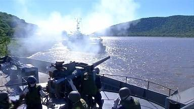 Operação da Marinha realiza treinamento de guerra no meio do Pantanal de MS - Os militares passam dias a bordo do monitor Parnaíba, em Corumbá, o navio que está há mais tempo em uso na frota brasileira.