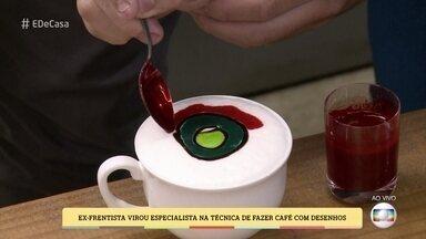 Ex-Frentista virou especialista na técnica de fazer café com desenhos - O Barista Hugo Silva ensina como fazer desenhos com a espuma do leite