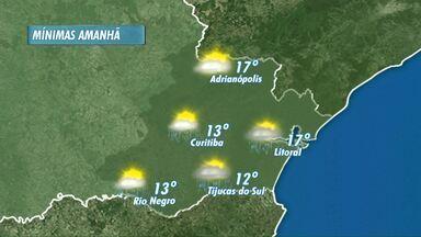 Domingo chuvoso em Curitiba e no litoral - A mínima na capital vai ser de 13 graus. O sol aparece de vez em quando. A máxima chega a 22 graus nas praias e também em Curitiba.