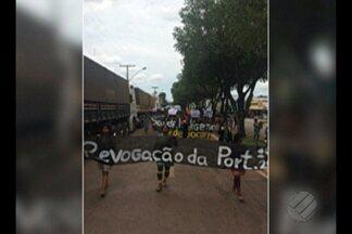 Índios protestam em Redenção contra portaria do Ministério da Saúde - Decisão implicaria perda de autonomia dos DISEIs. Protesto reuniu cerca de 600 indígenas de aldeias do sul do Pará nesta quinta (26).
