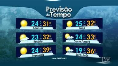 Veja a previsão do tempo para esta quarta-feira (26) no MA - Tempo será parcialmente nublado em boa parte do estado do Maranhão.