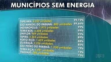 Várias cidades do Noroeste ficam sem energia elétrica após temporal - Em Tapejara, São Manoel do Paraná, Indianópolis e Terra Boa, quase todos os moradores chegaram a ficar sem luz.