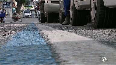 Árvores podem atrapalhar implantação da 'Faixa Azul' nas ruas do Centro de Caruaru - Faixa será exclusiva para a passagem de ônibus.