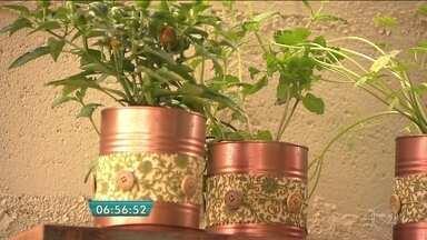 Ateliê reaproveita latas de leite em pó para formar a horta - As latas, maquiadas com spray bronze, podem ser personalizadas com tiras de tecido floral e botões de roupa. Essa é uma das dicas do Quadro Verde para reaproveitar objetos para a composição do jardim.