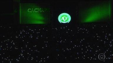 Emoção marca homenagem a jogadores da 'Chape' na Arena Condá - Torcedores, amigos e parentes lotaram as arquibancadas do estádio para homenagear as vítimas do acidente. A Arena Condá está sendo preparada para o velório.